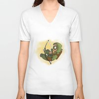 green arrow V-neck T-shirts featuring Green Arrow by Snowmaki