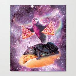 Space Pizza Sloth On Turtle Unicorn On Hotdog Canvas Print