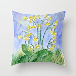 Cowslip (Primula veris) Throw Pillow