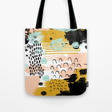 Ames - Abstract painting in free style with modern colors navy gold blush white mint Tote Bag