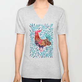 Le Coq – Watercolor Rooster with Turquoise Leaves Unisex V-Neck