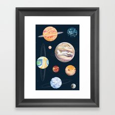 Marbly Warbly Planets Framed Art Print