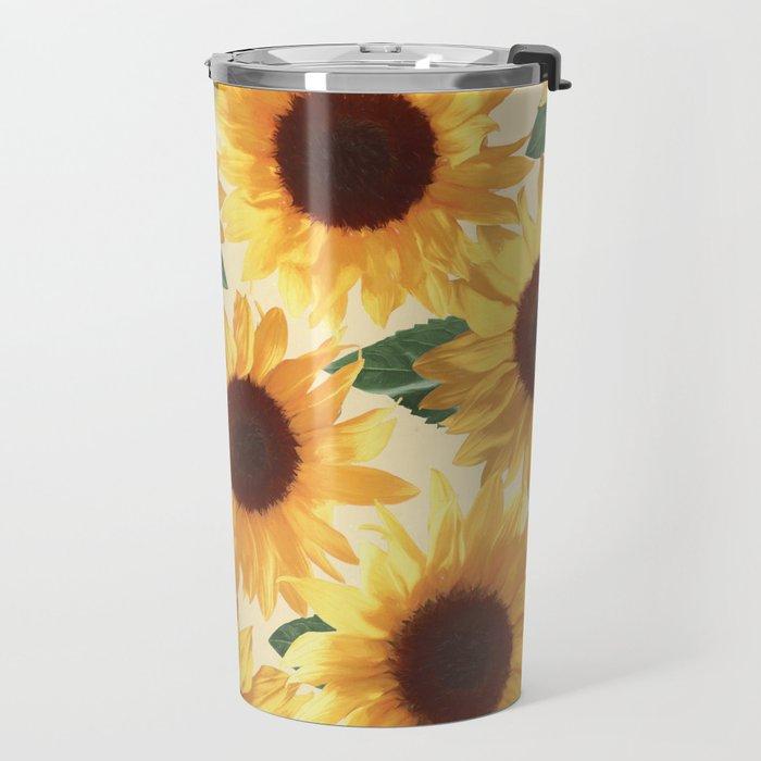 Happy Yellow Sunflowers Travel Mug