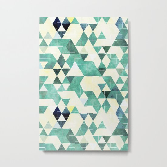 Abstract Green Triangles, Watercolor Pattern Metal Print