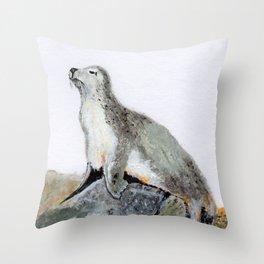Acrylic seal Throw Pillow