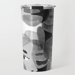 Abstract woman face with eyes in B&W illustration Travel Mug