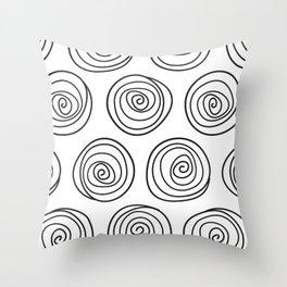 Hand Drawn Spirals Pattern (white) Throw Pillow