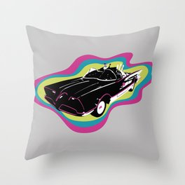 Pop Batmobile Throw Pillow
