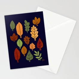 Modern Autumn Small Leaves Blue Background Stationery Cards
