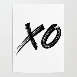 X & O Hugs & Kisses In Black Poster