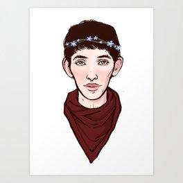 Merlin Flowercrown Art Print