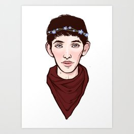 Merlin Flowercrown Art Print