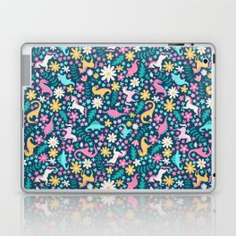 Floral Burst with Dinosaurs + Unicorns in Neon Laptop & iPad Skin