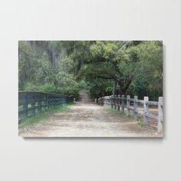 Dirt Road between fences Metal Print