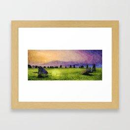 Sunrise at Castlerigg Stone Circle, Keswick, Lake District, Uk. Watercolour Painting Framed Art Print
