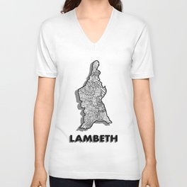 Lambeth - London Boroughs - Detailed Unisex V-Neck