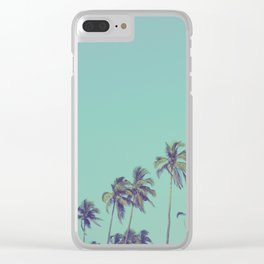 Coconut palm trees at tropical beach, vintage look Clear iPhone Case