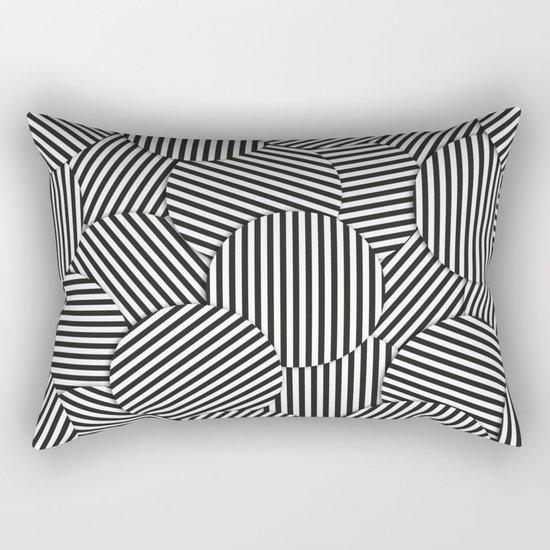 Striped Disc Pattern - Black and White Rectangular Pillow