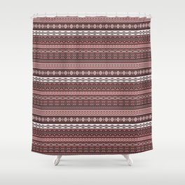 Modern Native Navajo Ethnic Tribal V.02 - Brown Color Shower Curtain
