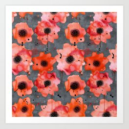 Watercolor poppies on gray background Art Print
