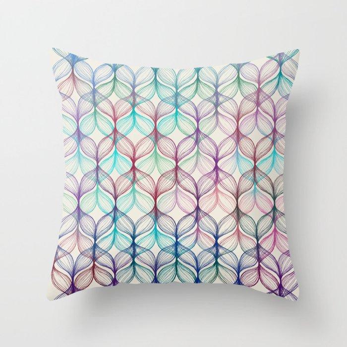 Mermaid's Braids - a colored pencil pattern Throw Pillow
