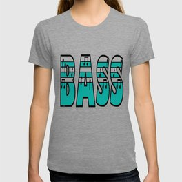 Turquoise and Silver Bass Font T-shirt