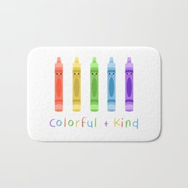 Colorful and Kind Crayons Bath Mat