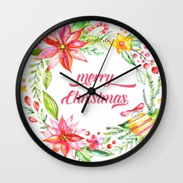 Colorful Christmas Floral Wreath Merry Christmas Typography Wall Clock