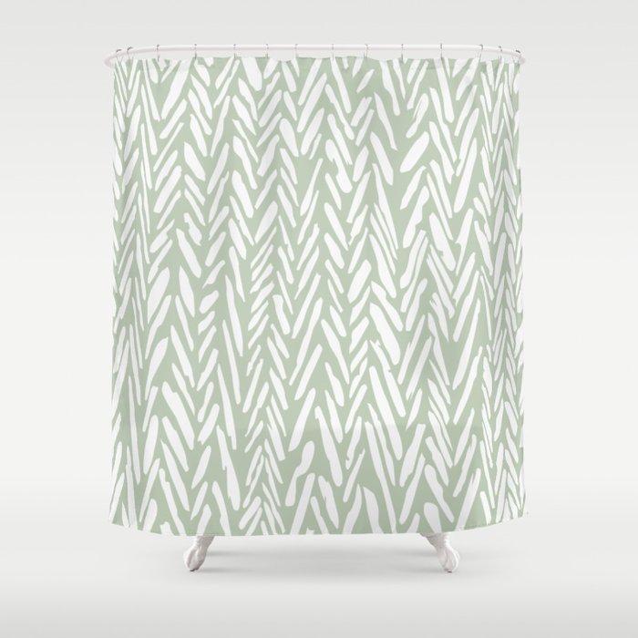 Light green herringbone pattern with cream stripes Shower Curtain