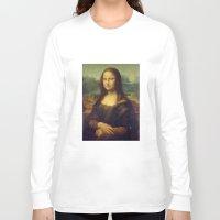 mona lisa Long Sleeve T-shirts featuring Mona Lisa by Leonardo da Vinci by Palazzo Art Gallery