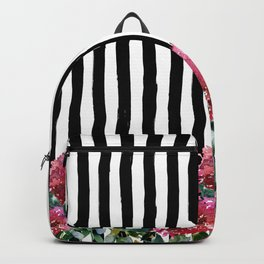 Black white brushstrokes pink watercolor floral stripes Backpack