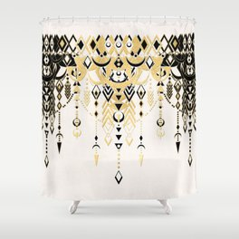 Modern Deco in Black and Cream Shower Curtain