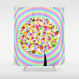 The little tree and the colorful spiral Shower Curtain