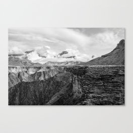 A Ledge on the Tonto Trail - The Grand Canyon - B&W Canvas Print