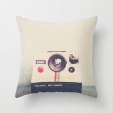 portrait of a polaroid ...  Throw Pillow