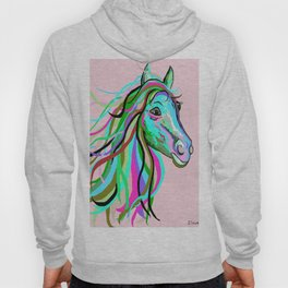 Teal and Pink Horse Hoody