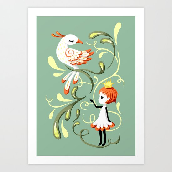 Princess and a Bird Art Print