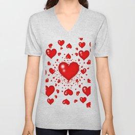 RED HEARTS  MIRAGE SURREAL LANDSCAPE Unisex V-Neck