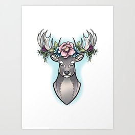 Floral Stag Art Print