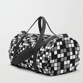 Black, Medium Gray, and White Random Squares Mosaic Duffle Bag