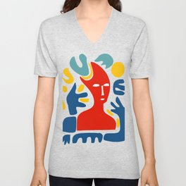 Red Man With Blue Arms and Abstract Minimal Shapes Art  Unisex V-Neck