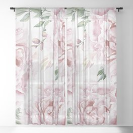 Girly Pastel Pink Roses Garden Sheer Curtain
