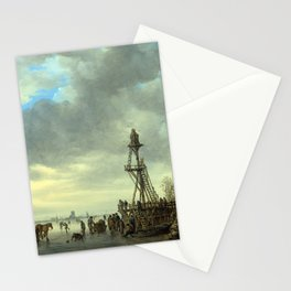 Jan van Goyen Ice Scene near a Wooden Observation Tower Stationery Cards