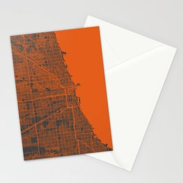 Chicago map orange Stationery Cards