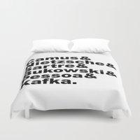 kafka Duvet Covers featuring Camus& Nietzsche& Sartre& Bukowski& Pessoa& Kafka. by Andrew Gony