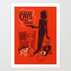 Cat Movie - orange Art Print