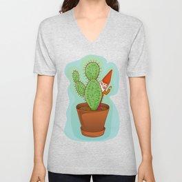 fairytale dwarf with cactus Unisex V-Neck