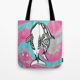 Orca Whales Tribal Teal Pink Marble Tote Bag