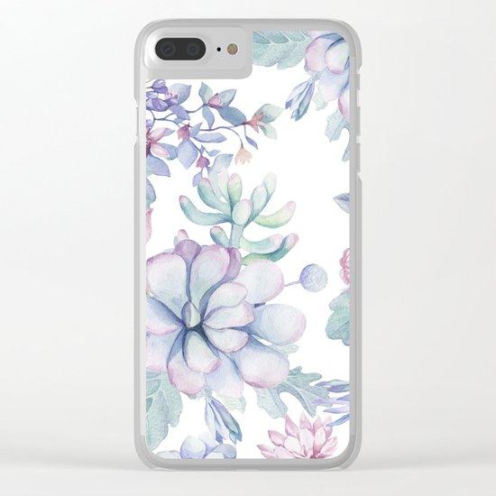 Pretty Blue Pink Succulents Garden Clear iPhone Case
