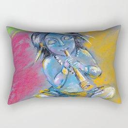 Little Krishna playing the flute Rectangular Pillow
